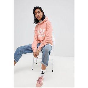 adidas originals trefoil oversized hoodie in pink